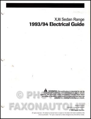 19931994 Jaguar XJ6 Electrical Guide Wiring Diagram Original Supp