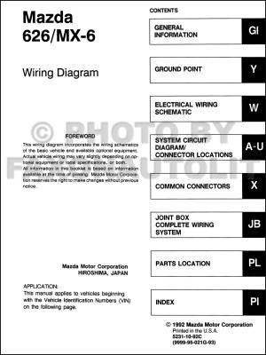 1993 Mazda 626 and MX6 Wiring Diagram Manual Original
