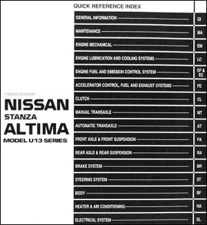 1993 Nissan Stanza Altima Repair Shop Manual Original