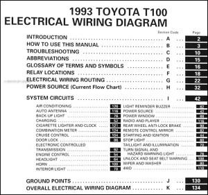 1993 Toyota T100 Truck Wiring Diagram Manual Original
