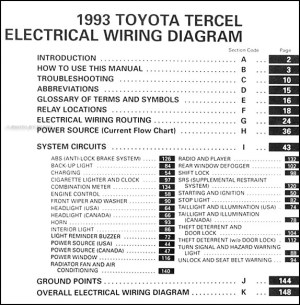 1993 Toyota Tercel Wiring Diagram Manual Original