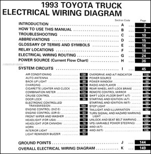 1993 Toyota Pickup Truck Wiring Diagram Manual Original