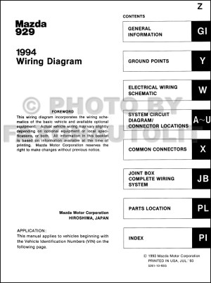 1994 Mazda 929 Wiring Diagram Manual Original