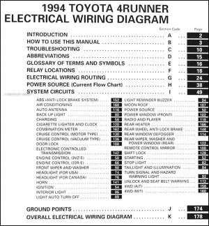 1994 Toyota 4Runner Wiring Diagram Manual Original