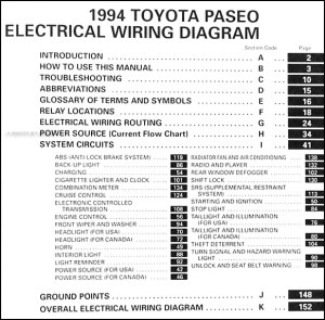 1994 Toyota Paseo Wiring Diagram Manual Original