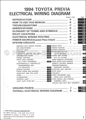 1994 Toyota Previa Wiring Diagram Manual Original Supplement
