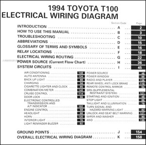 1994 Toyota T100 Truck Wiring Diagram Manual Original