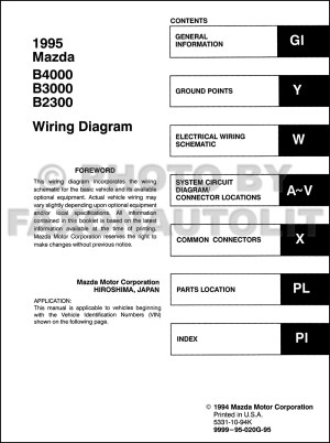 1995 Mazda B4000 B3000 B2300 Pickup Truck Wiring Diagram