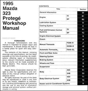 1995 Mazda 323 and Protege Repair Shop Manual 95 | eBay