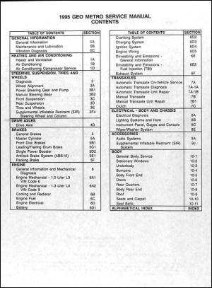 1995 Geo Metro Repair Shop Manual Original