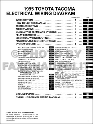1995 Toyota Taa Pickup Wiring Diagram Manual Original