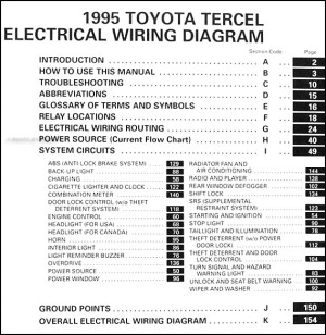 1995 Toyota Tercel Wiring Diagram Manual Original