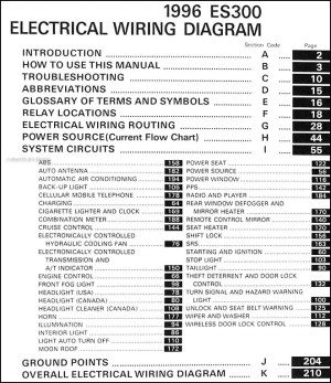 1996 Lexus ES 300 Wiring Diagram Manual Original