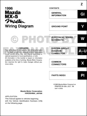 1996 Mazda MX5 Miata Wiring Diagram Manual Original