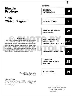 1996 Mazda Protege Wiring Diagram Manual Original