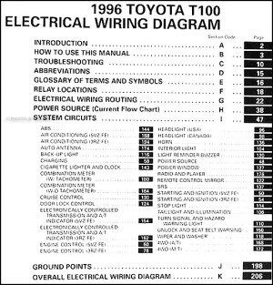 1996 Toyota T100 Truck Wiring Diagram Manual Original