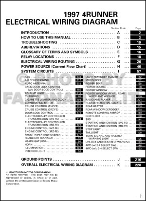1997 Toyota 4Runner Wiring Diagram Manual Original