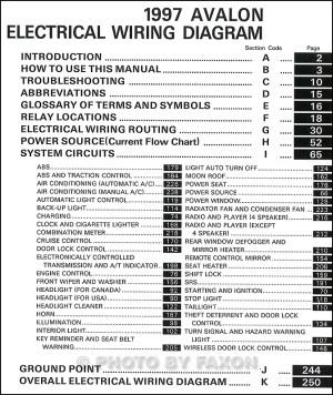 1997 Toyota Avalon Wiring Diagram Manual Original