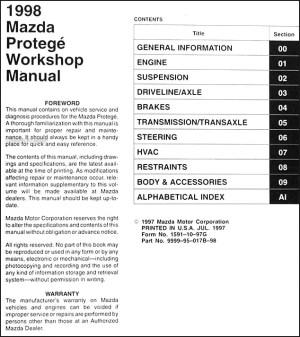 1998 Mazda Protege Repair Shop Manual Original