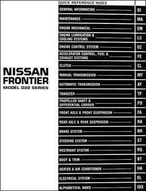 1998 Nissan Frontier Pickup Truck Repair Shop Manual Original