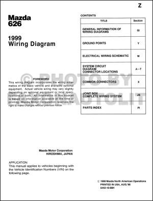 1999 Mazda 626 Wiring Diagram Manual Original