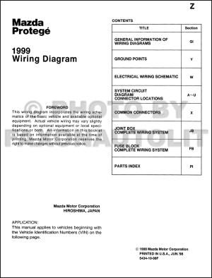 1999 Mazda Protege Wiring Diagram Manual Original