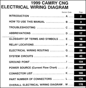 1999 Toyota Camry CNG Wiring Diagram Manual Original