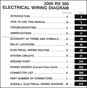 2000 Lexus RX 300 Wiring Diagram Manual Original