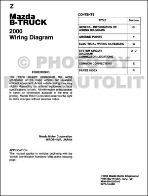 2000 Mazda BSeries Pickup Truck Wiring Diagram Manual