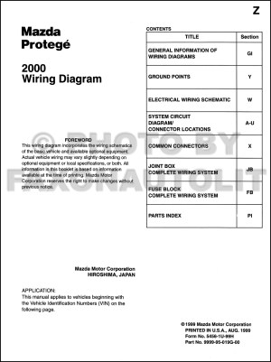 2000 Mazda Protege Wiring Diagram Manual Original
