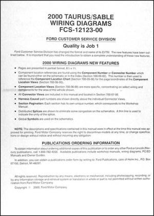 2000 Ford Taurus & Mercury Sable Wiring Diagram Manual