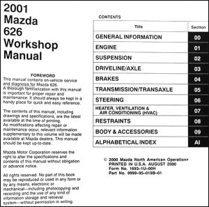 2001 Mazda 626 Repair Shop Manual Original