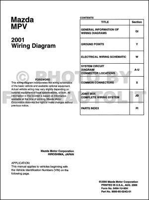 2001 Mazda MPV Wiring Diagram Manual Original