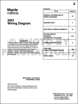 2001 Mazda Millenia Wiring Diagram Manual Original