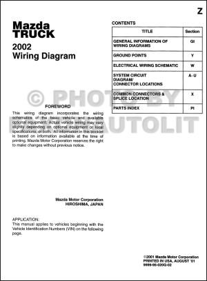 2002 Mazda Truck Wiring Diagram Manual Original B2300