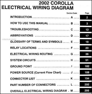 2002 Toyota Corolla Wiring Diagram Manual Original