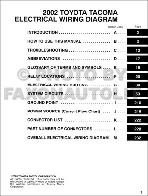 2002 Toyota Taa Pickup Wiring Diagram Manual Original