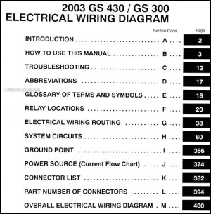 2003 Lexus GS 300 & GS 430 Wiring Diagram Manual Original