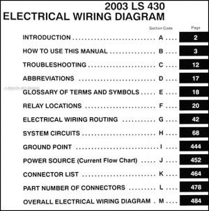 2003 Lexus LS 430 Wiring Diagram Manual Original
