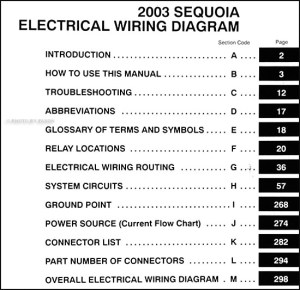 2003 Toyota Sequoia Wiring Diagram Manual Original