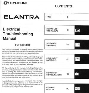 2004 Hyundai Elantra Electrical Troubleshooting Manual