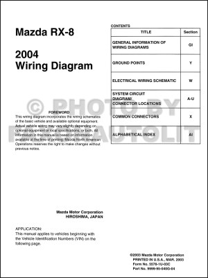 2004 Mazda RX8 Wiring Diagram Manual Original RX8
