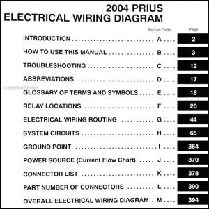 2004 Toyota Prius Wiring Diagram Manual Original