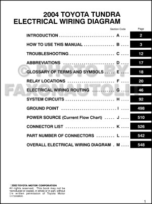 2004 Toyota Tundra Wiring Diagram Manual Original