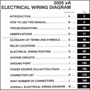 2005 Scion xA Wiring Diagram Manual Original