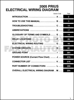 2005 Toyota Prius Wiring Diagram Manual Original