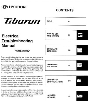 2006 Hyundai Tiburon Electrical Troubleshooting Manual