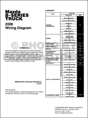 2006 Mazda BSeries Pickup Truck Wiring Diagram Manual