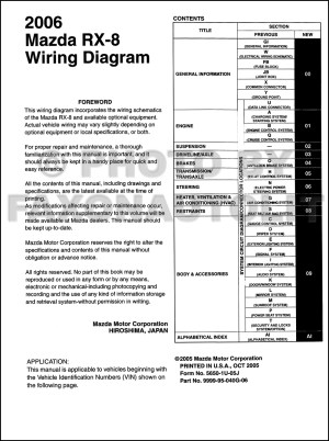 2006 Mazda RX8 Wiring Diagram Manual Original RX8