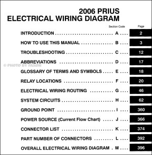2006 Toyota Prius Wiring Diagram Manual Original